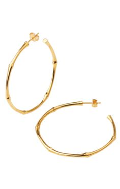 18f16bc917f1 The smooth shape and nodules of bamboo branches are echoed seamlessly into  precious metals. These simple large hoop earrings are handmade in rose gold  ...