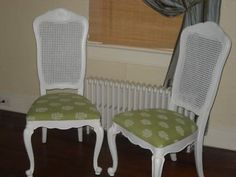 AVAILABLE FURNITURE:  I have a set of chairs like this, except without the carving on the top.  They really look bright and cheerful painted white with the bright fabric.  Again, fabric is key.