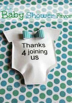 A baby shower party favor with jelly beans inside using Lori Whitlock's onesie cutting file.