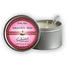 Earthly Body 3-in-1 Massage Candle - Hand poured, fragrant natural soy-oil massage candle burns longer and cleaner and melts into warming, silky massage oil.   •Penetrates and moisturizes skin •8 Natural Oils including Hemp Seed, Vitamin E, Jojoba, Avocado, & Apricot leave skin soft and smooth •Use right out of the shower or bath •100% Vegan, Non-Toxic  Scents: •Guavalava •Naked in the Woods •Skinny Dip  6.8 oz / 192 g