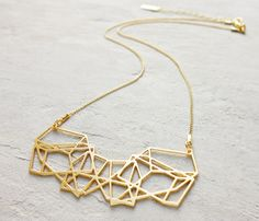 Short Composition Necklace, Geometric necklace, signature necklace, Architectural jewelry,