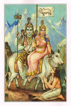 hindu-god-shiva-shankar-goddess-parvati-miniature-painting-india-upmanyu-b-k-mitra.jpg (604×900)