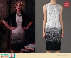 Diane's ombre printed dress on The Good Wife.  Outfit Details: http://wornontv.net/38659/ #TheGoodWife