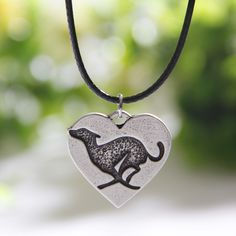 Running Greyhound Heart Necklace Grey Hound Dog Lover Necklaces & Pendants Silver Pendant Women Chocker Christmas Gift Lead Free