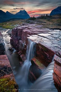Double Falls, Glacier National Park, Montana, by OutdoorExposurePhoto.com