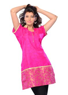 Buy Pink Color Jacquard Printed Kurti Online – Fashionic: Indian Ethnic Wear