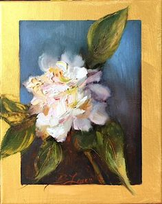 Floral Painting Original Peony Brenda Laney Wall Art Home Decor Canvas Still Life White