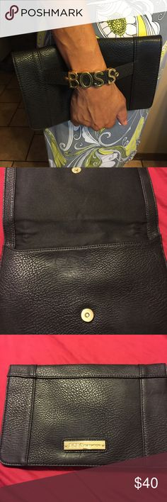 BCBG next generation black  clutch Perfect for the lady who is truly the Boss and will rock this clutch !! In excellent condition barely used ! BCBGeneration Bags Clutches & Wristlets