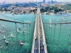 The Bosphorus Bridge in Istanbul, Turkey. Where east meets west :) This bridge is one of the bridges in Istanbul which spans Bosphorus strait, connecting two continents, Europe and Asia. Places To Travel, Places To See, Bridge Wallpaper, Bosphorus Bridge, Istanbul Travel, Visit Istanbul, Turkey Holidays, Kusadasi, Pamukkale