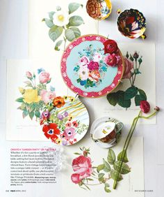 Floral Tabletop Runner - styling by Margot Austin (photography by Angus Fergusson) for H&H April.