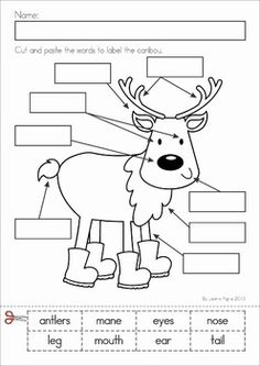 Kindergarten Winter Literacy Worksheets & Activities No Prep. A page from the unit: label the caribou
