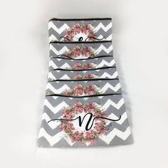 Personalized Gift Set. Medium MakeUp Bag. Chevron Canvas Cosmetic Toiletries Organizer, Clutch, Wallet, iPad for Bridesmaid, Sorority, Clubs