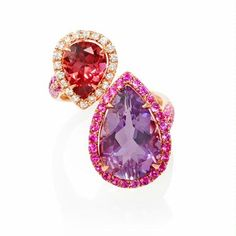 5.15tcw Diamond, Pink Sapphire, Pink Toumaline and Purple Amethyst 18k Rose Gold Ring. $1,710