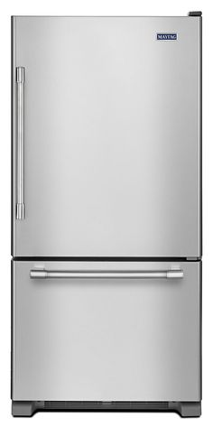 This Maytag fingerprint-resistant stainless steel bottom-freezer refrigerator offers 19 cu. ft. of capacity, so all of your groceries fit with ease. LED lighting gives you the perfect view of your food, casting a spotlight on all of your go-to snacks when hunger strikes. To top it off, this fridge was built with Advance Foam Insulation for better energy performance and 99.9 percent lower global warming potential.