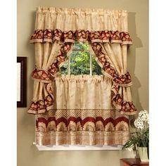ACHIM Sunflower Printed Kitchen Curtain With Attached Valance - 57x36 Inches - N/A, Multi (Polyester, Floral)