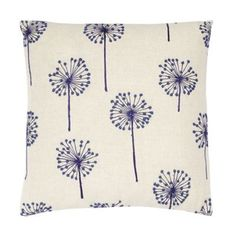 This natural cushion comes in a woven linen fabric with a beige leaf pattern to the underside and a navy embroidered dandelion pattern to the top.