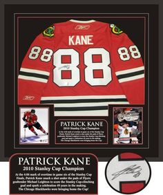 Patrick Kane Autographed/Hand Signed Framed Jersey Blackhawks ... Stanley Cup Finals, Stanley Cup Champions, Kane Blackhawks, Hockey, Framed Jersey, Stadium Series, Nhl Jerseys, Patrick Kane, Custom Framing