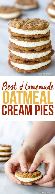 Retro Homemade Oatmeal Cream Pies Recipe   http://ASpicyPerspective.com