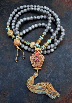 Jade Mala Necklace - Made by look4treasures