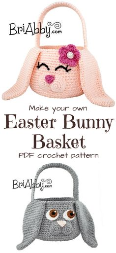Such a great idea! Handmade crochet Easter bunny basket crochet pattern! So adorable! #etsy #ad #pdf #pattern #download #spring