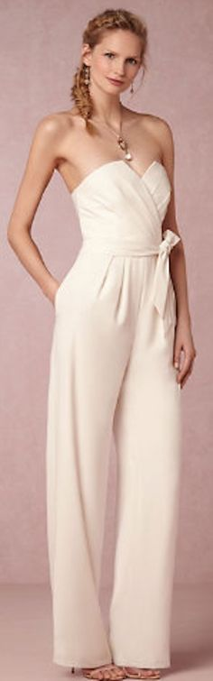 Stylish white jumpsuit.  Great rehearsal dinner outfit. @BHLDN