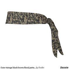 Cute vintage black brown floral pattern tie headband Tie Headband, Brown Floral, Party Hats, All Print, Vintage Black, Black And Brown, Art Pieces, Cute, Fabric