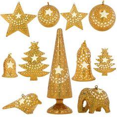 Golden Paper Mache Ornaments Christmas Decor Set of 11 Items ShalinIndia
