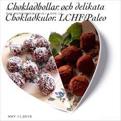 """Goda chokladbollar att med gott samvete svulla på I bloggen #länkiprofilen klickar ni på etiketten""""choklad"""" så hittar ni olika godingar att välja mellan. #mums #choklad#hälsa #hälsosamt #ekologiskt #lchf #paleo #godis #godisgood #chocolate #kvinnaicentrum by christinastenlund"""