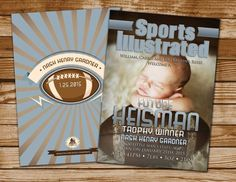 Sports Illustrated style MAGAZINE theme birth announcement, baby boy, football, baby shower, sports, athlete,champion birth announcements sports, baseball birth announcements #baby #newborn