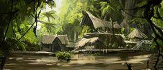 jungle village Fantasy concept art Fantasy landscape Environment concept art