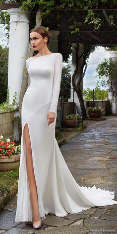 victoria soprano 2017 bridal long sleeves bateau neck simple clean elegant sophiscated side slit sheath wedding dress lace back chapel train (estella) mv -- Victoria Soprano 2017 Wedding Dresses  #wedding #bridal  #weddingdress