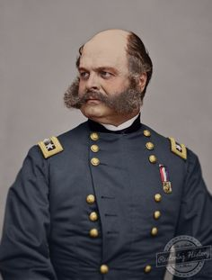 Color restoration of Sgt. Ambrose Burnside, Union Army head during the Civil War by Alyssa Gorraiz with Restoring History In Photos. | https://restoringhistoryinphotos.com