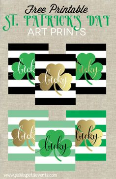 Free printable St. Patrick's Day art prints - 6 color combos to choose from!