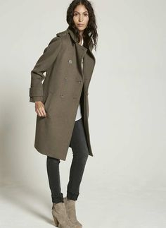 Web Exclusive - Khaki wool blend mid length coat. Inspired by military design, with epaulettes and pale silver buttons. Model is 5'10in and wears a UK size 10. The length from the side neck point to hem is 98cm/38.5in. Please note this garment is dry clean only.