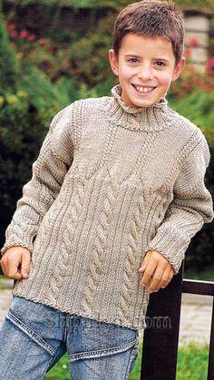 Пуловер для мальчика с узором из кос, вязаный спицами