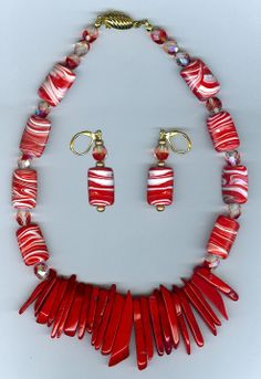#Fashion jewellery  #N358  necklace set  bamboo coral and resin beads