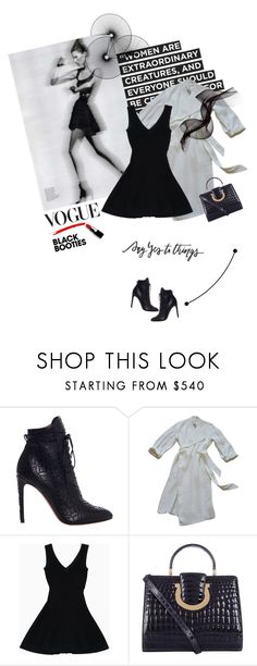 """""""Back to Basics: Black Booties"""" by lacas ❤ liked on Polyvore featuring Trouvaille, Alaïa, Acne Studios, Salvatore Ferragamo and blackbooties"""