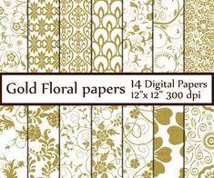 """Gold Floral Digital Paper: """"WEDDING BACKGROUNDS"""" Gold and White Digital Paper Gold Flowers Paper Gold pattern invitation paper"""