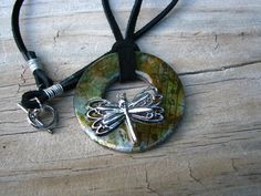 Altered Art Mixed Media Washer Pendant Necklace with Dragonfly Charm. $20.00, via Etsy.