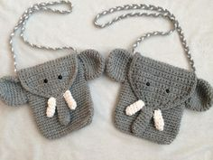 Elephant Purse/Bag | Craftsy  This adorable elephant purse is great for any elephant lover. You can change up the colors to make it your own. It's a great size for toddlers all the way up to preteens!   The single crochet makes it a tight stitch so you personal possessions will not fall or poke through.