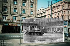 Many of the juxtaposed images are so similar, they look like they are part of one photograph when merged together. Here, a tank in 1956 drives down a Budapest street which was later captured by Zoltan in Then And Now Pictures, First Photograph, Central Europe, Most Beautiful Cities, Budapest Hungary, Eastern Europe, Military History, Photo Book, Great Places