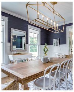 Dining Room Blue, Dining Room Walls, Dining Room Lighting, Dining Room Design, Wall Paper Dining Room, Small Dining Rooms, Grasscloth Dining Room, Farmhouse Dining Rooms, Best Dining Room Colors