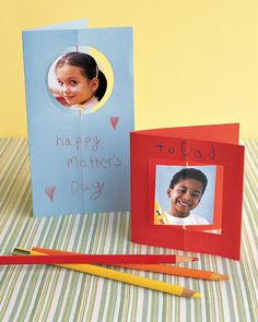 Kids can put a personal spin on their cards to Mom by attaching a special photo to string.