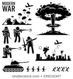 War modern warfare nuclear bomb soldier tank vector image on VectorStock Modern Warfare, Bomba Nuclear, Tf2 Meme, Stick Figure Drawing, Nuclear Bomb, City Illustration, Stick Figures, Bts Suga, Easy Drawings