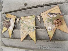 Lovely handmade banner or wall decor, perfect for anyone who adores vintage decor, and anyone who appreciates the charm of a sweet bird. 3 separate