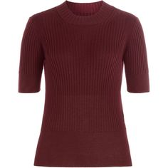 Maison Margiela Ribbed Wool Pullover ($413) ❤ liked on Polyvore featuring tops, sweaters, red, wool pullover sweater, sweater pullover, wool tops, red pullover sweater and maison margiela