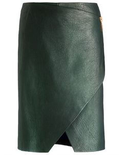 Cédric Charlier Green Leather Split Skirt Was £730 Now £292 60% off