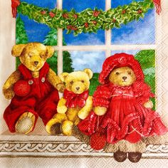 Rare single(one)napkin Xmas bears cream  for decoupage, decoupage under glass, mixed media, scrapbooking and other art and crafts door Dalilasdecoupage op Etsy