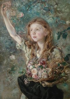 'The Rose Picker' - Anton Romako (1832-1889)