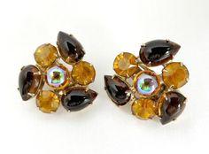 Amber Brown Rhinestone Earrings Vintage by LeesVintageJewels